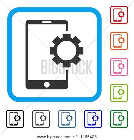 Phone Setup Gear icon. Flat grey iconic symbol in a blue rounded rectangular frame. Black, gray, green, blue, red, orange color additional versions of Phone Setup Gear vector.