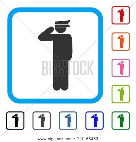 Police Officer icon. Flat gray pictogram symbol inside a blue rounded squared frame. Black, gray, green, blue, red, orange color additional versions of Police Officer vector.