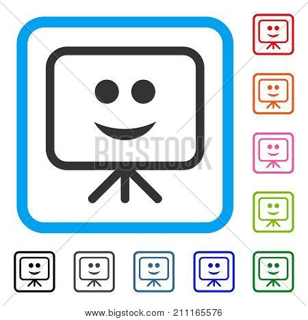 Projection Board Smile icon. Flat grey iconic symbol inside a blue rounded frame. Black, gray, green, blue, red, orange color variants of Projection Board Smile vector.