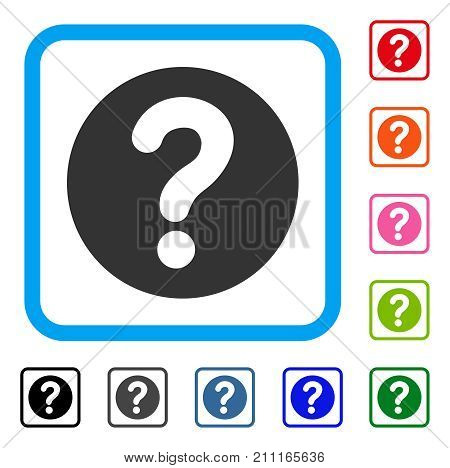 Query icon. Flat gray iconic symbol in a blue rounded square. Black, gray, green, blue, red, orange color versions of Query vector. Designed for web and software UI.
