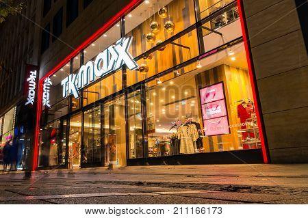 Tk Maxx Clothing Store Beautiful Entrance Stuttgart Main Street Koenigsstrasse City Night Germany Fa