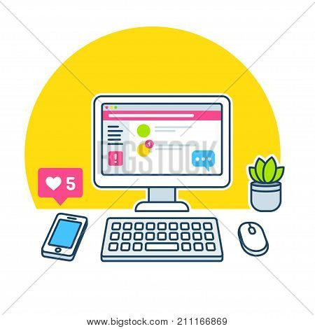 Workplace distractions concept. Office desk with computer social media alert on smartphone notification speech bubble chat. Productivity problems vector illustration.