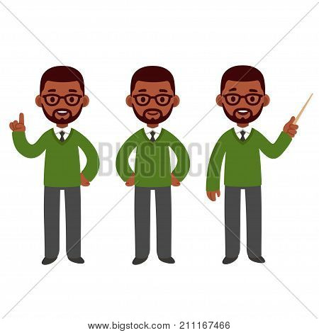 Male African American teacher set. Standing smiling and pointing. Cute cartoon black character vector illustration.