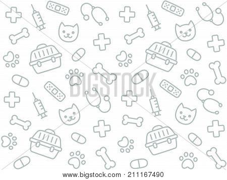 Cute vet seamless pattern. Hand drawn texture of pets and veterinary equipment.