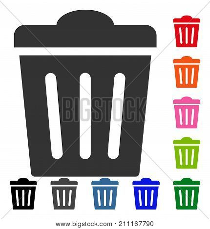 Trash Can icon. Flat gray pictogram symbol inside a blue rounded squared frame. Black, gray, green, blue, red, orange color variants of Trash Can vector.