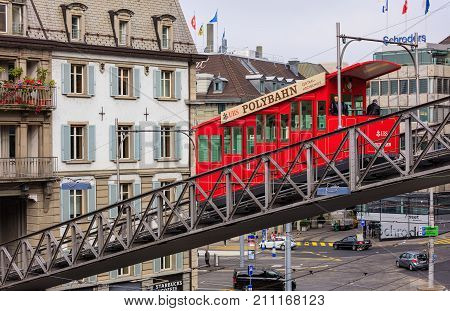 Zurich, Switzerland - 25 September, 2017: the Polybahn funicular railway. The Polybahn, also known as the UBS Polybahn, is a funicular railway in the city of Zurich, connecting the Central square with the terrace by the main building of the ETH.