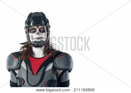Happy halloween. hockey player in a hockey helmet and mask against the isolated backdrop or background. holiday halloween. All Saints' Day