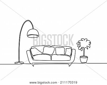 Interior With Sofa, Floor Lamp And Plant.