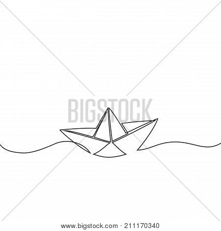 Continuous Line Drawing Of Paper Boat