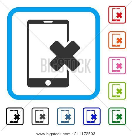 Wrong Smartphone icon. Flat grey iconic symbol inside a blue rounded squared frame. Black, gray, green, blue, red, orange color versions of Wrong Smartphone vector.