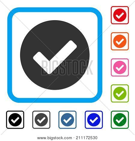 Yes icon. Flat grey pictogram symbol inside a blue rounded squared frame. Black, gray, green, blue, red, orange color variants of Yes vector. Designed for web and application interfaces.