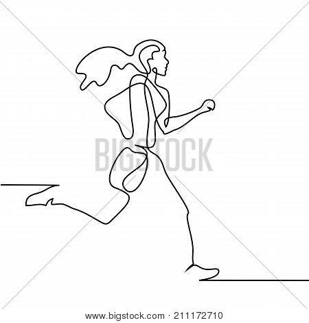 Sport Running Woman On White Background.