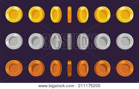 Coin sprite sheet. A set of gold silver and bronze coins on a purple background. Animation for computer games. Vector illustration. EPS 10. poster