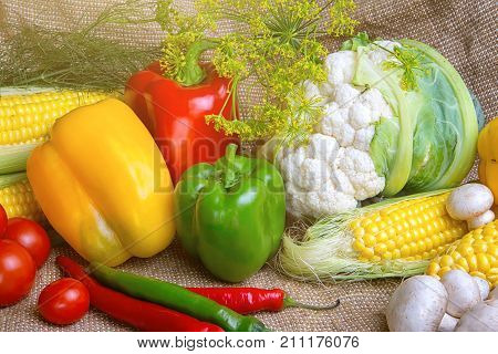 vegetables, vegetable arrangement, vegetables, vegetables on the table. corn, cauliflower, tomatoes, champignons, chili peppers, garlic tomato cucumber zucchini chili peppers radish salad dill
