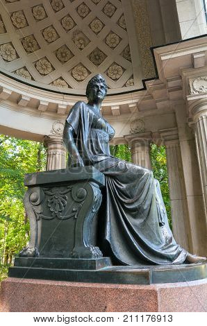 PAVLOVSK RUSSIA - SEPTEMBER 21 2017. Monument to empress Maria Fedorovna in Rossi Pavilion in Pavlovsk near St Petersburg Russia. Pavlovsk park