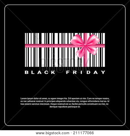 Black Friday Background With Gift Box Of Bar Code And Pink Bow Sale Banner Design With Copy Space Vector Illustration