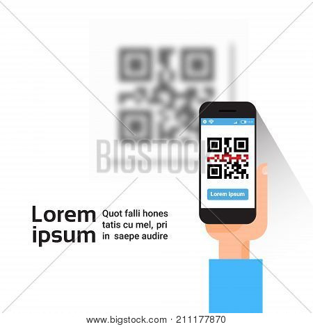 Hand Hold Smart Phone Scanning Qr Code Banner With Copy Space, Barcode Scan With Telephone Vector Illustration
