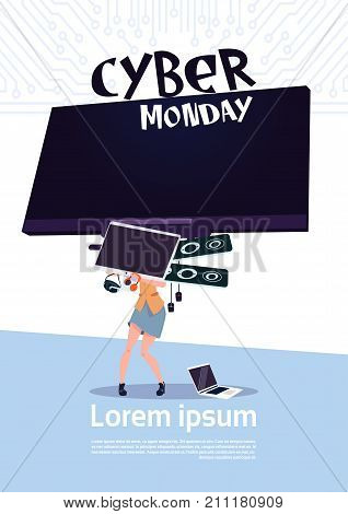 Cyber Monday Sale Poster With Woman Holding Big Tv Plasma Over White Background, Template Banner With Copy Space Design Vector Illustration