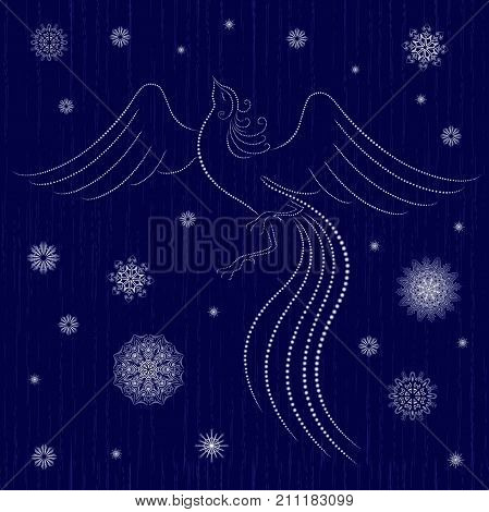 Graceful Firebird On Winter Motif Background