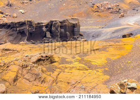 iceland volcanic rock at setun in summer