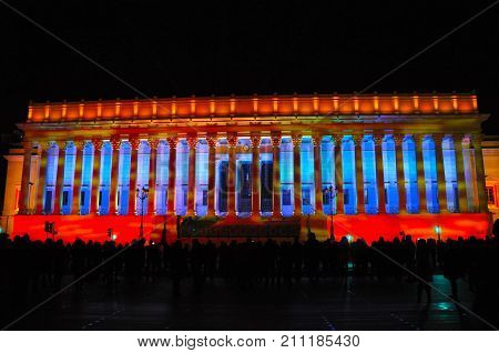 Lyon France, 8 December 2013: Court of Appeal during Fete des Lumieres - Festival of Lights in Lyon