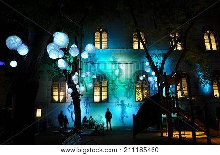 Lyon France, 8 December 2013: steet view during Fete des Lumieres - Festival of Lights in Lyon