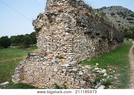 Philippi City Walls. Ruins of the walls at the Philippi archaeological site. Philippi was visited by the Apostle Paul and his companions during the missionary journey recorded in the Bibles book of Acts. This portion of the road is from Ancient Philippi.
