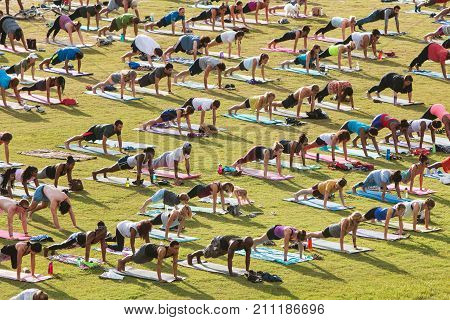 ATLANTA, GA - JULY 2017: Dozens of people do the plank pose as they take part in a free group yoga class at the Old Fourth Ward Park in Atlanta GA on July 2 2017.