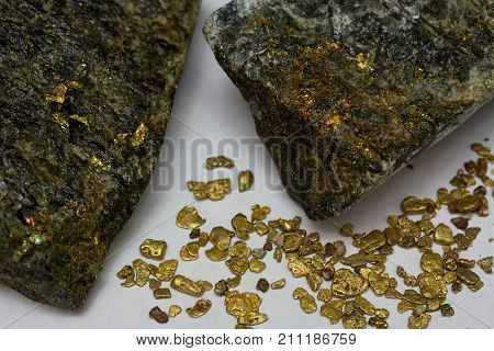 High-Grade Gold Ore and California Placer Gold Nuggets Sluiced from Mountain Stream