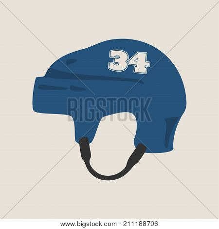 Classic ice hockey blue helmet icon in flat style. Side view. Thirty four number label