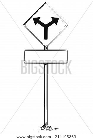 Drawing Of Two Ways Arrow Traffic Sign