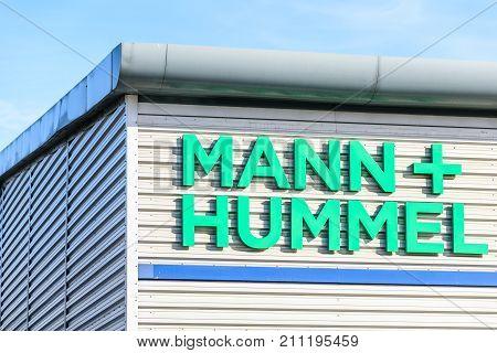 Northampton, UK - Oct 25, 2017: Day view of Mann Plus Hummel logo at Riverside Retail Park.