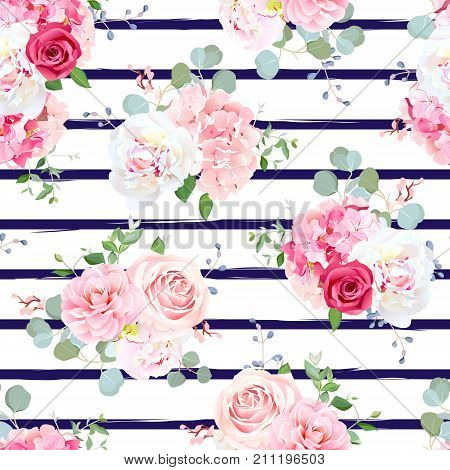 Small wedding bouquets of red and pink rose, white peony, camellia, hydrangea, blue berries and eucalyptus leaves pattern. Simple navy striped backdrop. All elements are isolated and editable