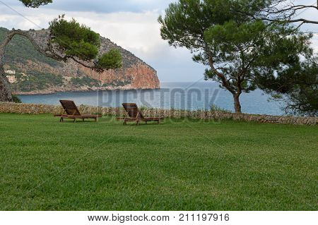 Loungers on the lawn near the sea