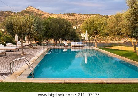 Swimming pool with a view of the trees