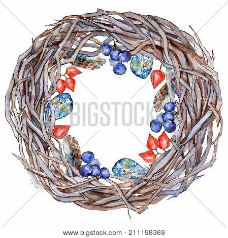 Forest twig branches wreath in a hand drawn watercolor style isolated. Aquarelle twig branches wreath for background, texture, wrapper pattern, frame or border.