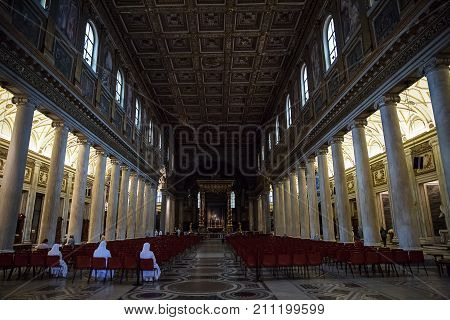 Rome Italy - September 1 2017: Beautiful photo of interior decoration in the Catholic Church of Maria Maggiore of Rome .