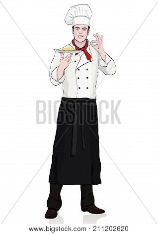Cook Standing Front Side, Vector Cartoon Portrait Male Chef Full-length, Multicolor Painted Young Hu