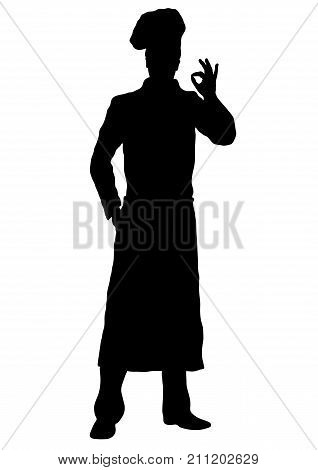 Cook Vector Silhouette, Outline Chef Standing Front Side Full-length, Contour Portrait Male Young Hu