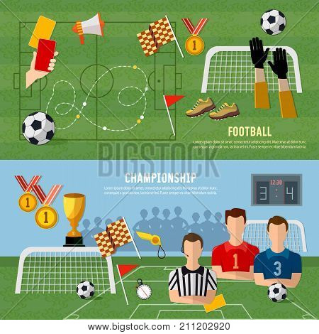 Elements of professional soccer flat design. Soccer banner football team signs and symbols