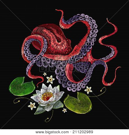 Embroidery octopus and white water lily. Classical embroidery lotus and sea octopus white lilies template fashionable clothes t-shirt design print vector