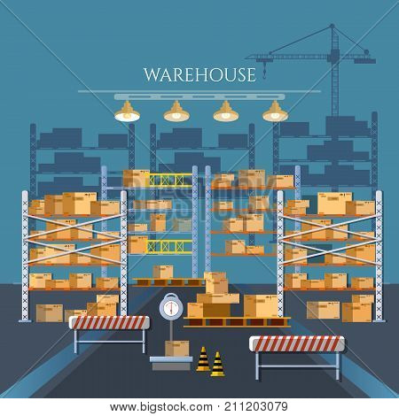 Logistic and delivery service concept. Warehouse industry. Warehouse interior box on rack and warehouse building