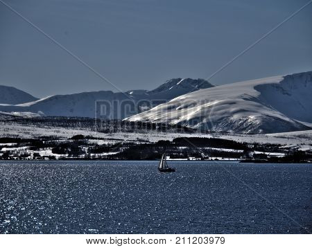 North of Norway, fjord view in winter