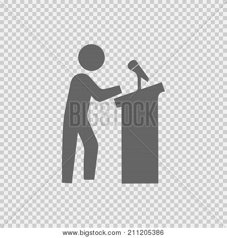 Speaker on podium vector icon eps 10. Speech symbol. Simple isolated illustration.