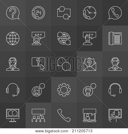 Customer support icons - vector collection of support service concept outline signs on dark background