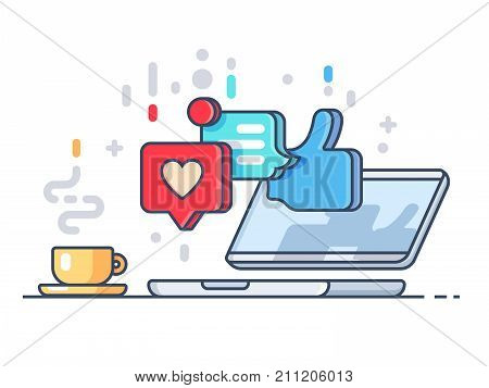 Likes and comments on social network. Laptop and cup with coffee. Vector illustration