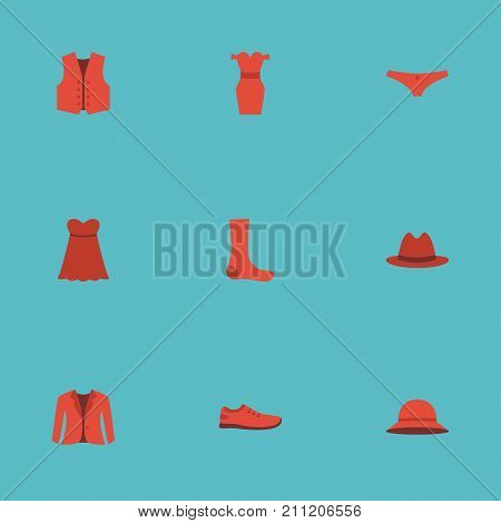 Flat Icons Lingerie, Coat, Gumshoes And Other Vector Elements