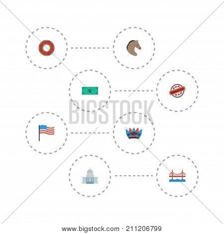 Flat Icons Greenback, America, Doughnut And Other Vector Elements