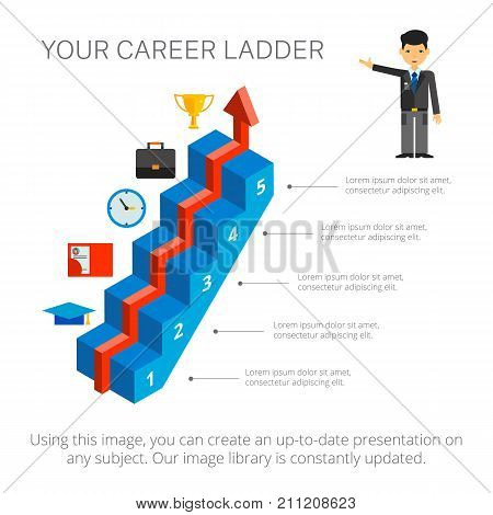 Step chart with five elements. Metaphor chart, arrow diagram,  template. Creative concept for infographics, presentation, project. Can be used for topics like career, workforce, recruitment.
