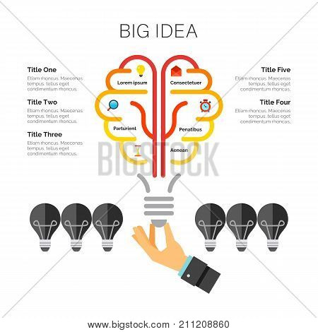 Light bulb metaphor chart. Metaphor chart, diagram, template. Creative concept for infographics, presentation, project. Can be used for topics like business, new ideas,  startup.